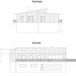 Fasadetegning, nord-vest og sør-vest